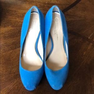 Jessica Simpson Teal Turquoise Suede Heels size 10